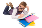 Boy with books for an education — Stockfoto