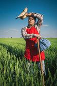 Granjero en el campo — Foto de Stock