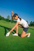 Woman golf player — Stock Photo