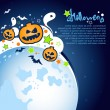 Halloween Party Background with a large moon, ghosts and pumpkins — Stock Vector