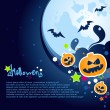 Stock Vector: Halloween Party Background with large moon, ghosts and pumpkins