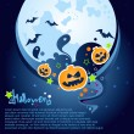 Fondo de fiesta de Halloween con una gran luna, fantasmas y calabazas — Vector de stock  #13128038