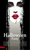 Halloween Party Design template with vampire — Stock Vector