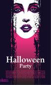 Halloween vector kaart of achtergrond. aantrekkelijk meisje met lichte make-up — Stockvector