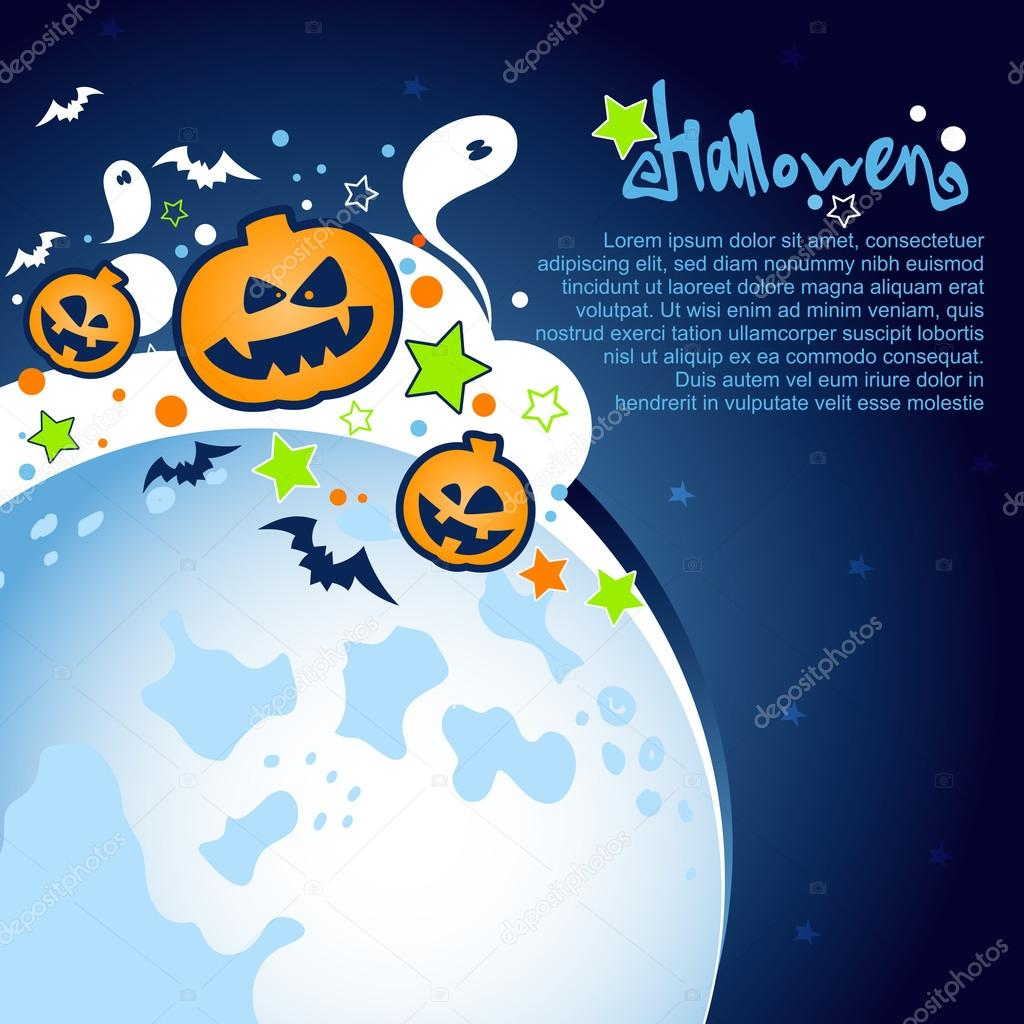 Halloween Party Background with a large moon, ghosts and pumpkins ...