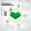 Eco design concept with a green heart-shaped cans. Eco infographic elements. Vector set — Stock Vector #13321375