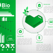Eco design concept with a green heart-shaped cans. Eco infographic elements. Vector set — Stock Vector #13321390