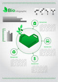 Eco design concept with a green heart-shaped cans. Eco infographic elements. Vector set — Stock Vector
