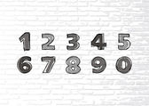 Hand-drawn numbers. Vector sketch illustration isolated on a white brick wall — Stockvektor