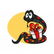Funny snake with a gift. Symbol of 2013. — Grafika wektorowa