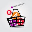 cesta y venta. ilustración vectorial — Vector de stock
