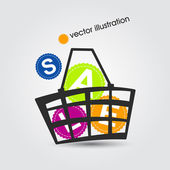 Shopping basket full of colorful SALE — Stock Vector