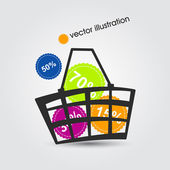 Shopping basket full of colorful discounts — Stock Vector