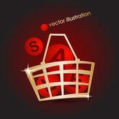 Tienda oro canasta llena de venta. ilustración vectorial — Vector de stock