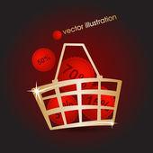 Złota rynku koszyka wypełniona czerwony rabaty. ilustracja wektorowa — Wektor stockowy
