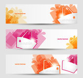 Set of banners with shopping basket and gifts. Vector illustration — Vector de stock