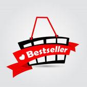 """""""best seller"""". cesta de la compra con la cinta. — Vector de stock"""