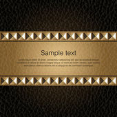 Design template. Leather background with golden metal rivets — Stock Vector