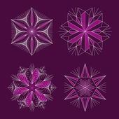 Hermosos copos de nieve para diseño de invierno la Navidad — Vector de stock