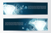 Set of banners, abstract headers with white jewels — Stock Vector