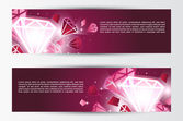 Set of banners with crystals — 图库矢量图片
