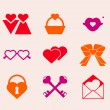 Valentine's day icons — Stock Vector