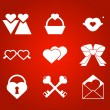 Stock Vector: Heart valentine icon set vector illustration