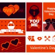 Happy valentines day cards with set of icons - Stock Vector