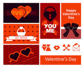Happy valentines day cards with set of icons — Stock Vector