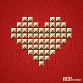 Valentines Day background with hearts of metal rivets. — Stock Vector