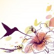 Royalty-Free Stock Vectorielle: Vector background with flowers, hummingbird and butterflies.