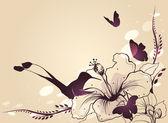 Hummingbird in flight with a flower and butterflies. Vector — Stock Vector