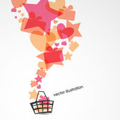 Sale design with basket, multicolored gift boxes, stars and hearts. Vector illustration — Stock Vector