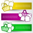 Colorful banners with shopping basket and gifts — Stock Vector #21323629
