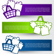 Colorful banners with shopping basket and gifts — Stock Vector