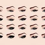 Set of fashion makeup eyeliner. Vector illustration — Stock Vector #21324909
