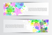 Set of colorful horizontal banners with gifts, stars and hearts — Stock Vector