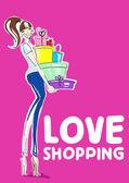 Filles shopping mode — Vecteur