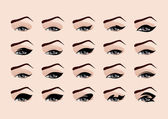 Set of fashion makeup eyeliner. Vector illustration — Stock Vector