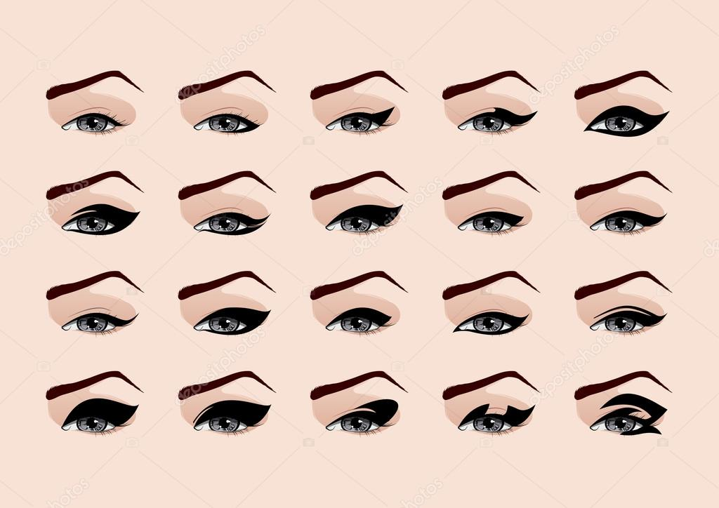 Set of fashion makeup eyeliner vector illustration stock vector napev 21324909 Fashion makeup and style tips