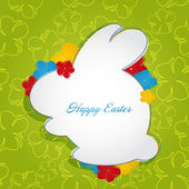 Easter green background with Bunny with place for your text. Vector illustration — Stock Vector