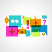 Burbujas coloridas discurso con iconos — Vector de stock