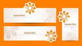 Set of banners with figured cut flowers — Stock Vector