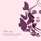 Portrait of a girl with butterflies — Stock Vector