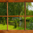 Summer pond as seen through the cottage window. — Stock Photo