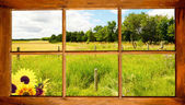 Country landscape seen through the window. — Stock Photo