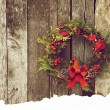 Christmas wreath with a happy cardinal perched. — Stock Photo