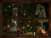 Window view christmas livingroom. — Stock Photo