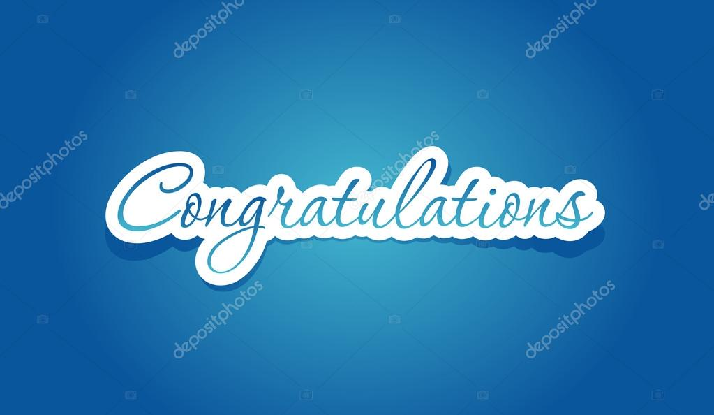 Congratulations lettering on blue background. Vector illustration.  Stock Vector #12589033