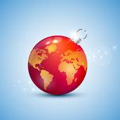 Globe christmas ball — Stock Vector